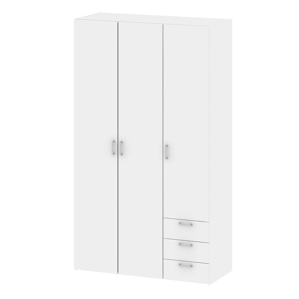 Space Wardrobe - 3 Doors 3 Drawers in White